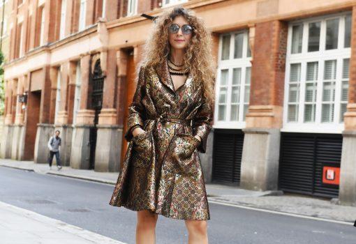 The brocade manteau by Maison Faliakos, Street style LFW SS18, Freemason Hal, Fashion Scout London