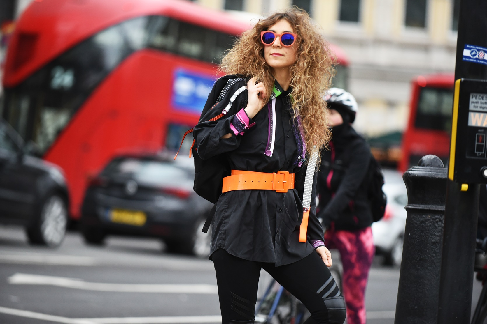 London Street Style of One the new Silk shirt, fashion project Silkline Mouhtaridis with Think Feel Discover at LFW Feb18