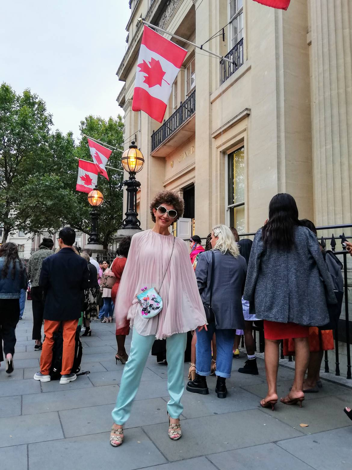 Poua Stories, fashion collage bag, LFWSS20 street style, Think Feel Discover at Canada Embassy London