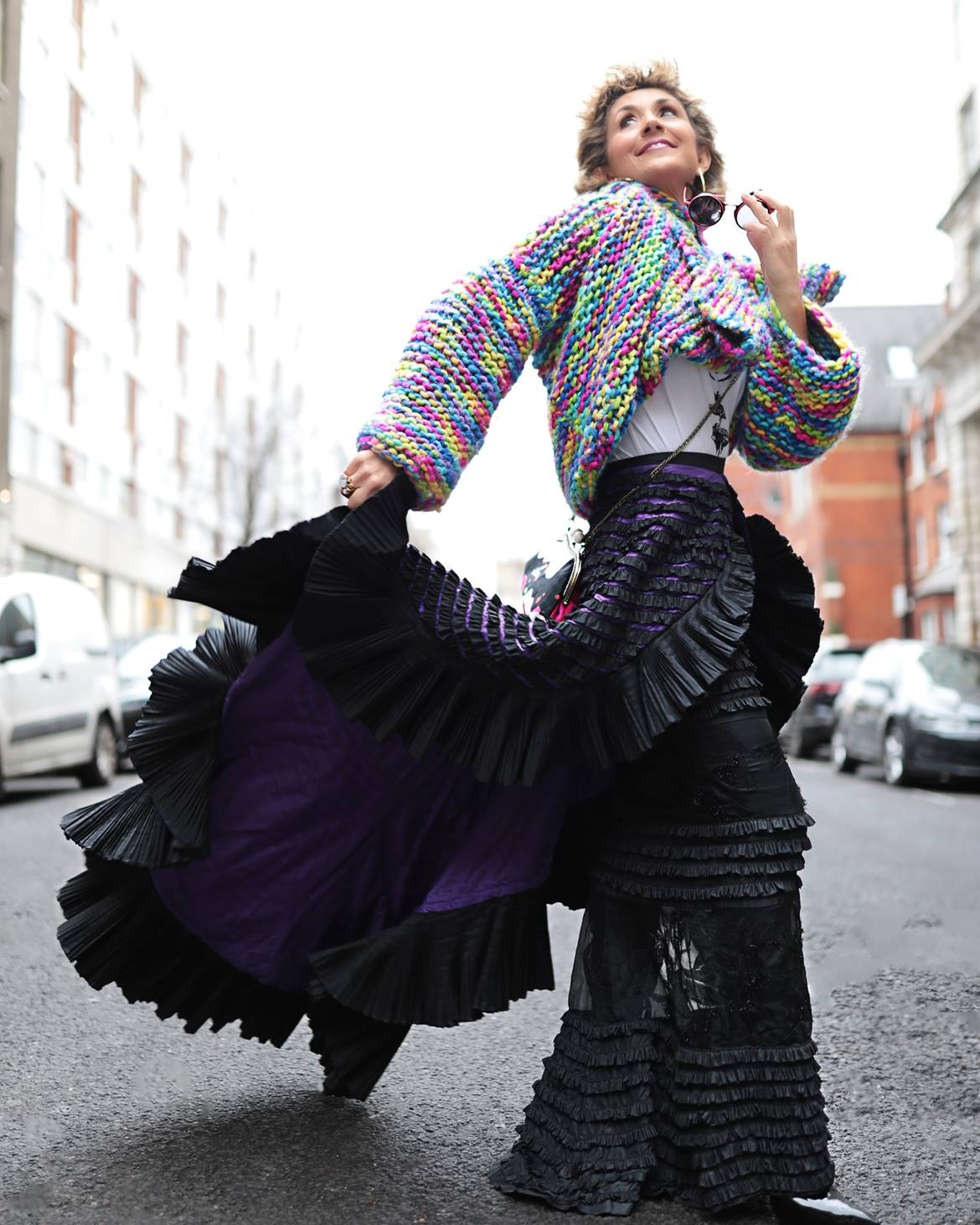 Fashion Awards 2019, Maison Faliakos couture skirt,Best London Fashion Week street style 2019, Think Feel Discover