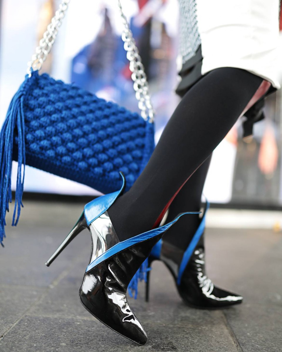 Shoe trends 2020 London street style at Mayfair London during Fashion Awards 2019 by Think-Feel-Discover.com for Sophia Victoratou