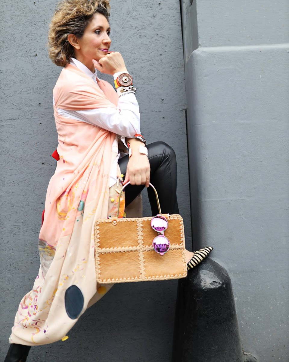 Think Feel Discover London Street Style at LFW February 2020, Spring 2020 Bag trends at Mayfair London for Unicum Accessories